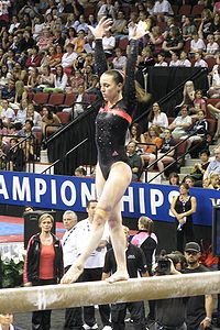 Chellsie Memmel performs on the balance beam at the 2008 U.S. National Championships in Boston