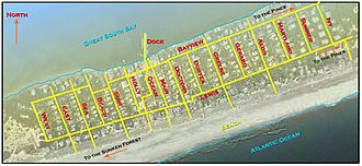 Cherry Grove, New York - Map including the names of the two major walks (Bayview and Lewis), which are generally parallel to the beach, and 16 minor walks (Ivy, Sumner, Maryland, Aeon, Gerard, Greene, Duryea, Doctors, Main, Ocean, Holly, Surf, Beach, Sea, East, and West), which are generally perpendicular to the beach. (South Walk is between Surf and Beach.)