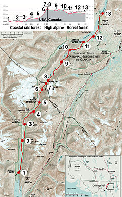 Campgrounds Usa Map.Campgrounds Of The Chilkoot Trail Wikipedia