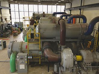 District cooling - Chillers in a district cooling at University of Rochester in Rochester, New York.