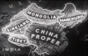 "Greater China - The map of ""China"" in the 1944 American propaganda film The Battle of China, distinguishing ""China proper"" from Manchuria, ""Mongolia"" (here Greater Mongolia including the present country, the Chinese province, and Tuva), Sinkiang (modern Xinjiang), and Tibet."