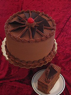 A baked cake flavored with chocolate