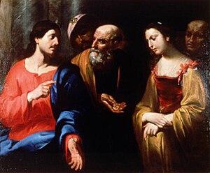 Orazio de Ferrari - Christ and the adultress, attributed to Orazio de Ferrari