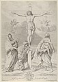 Christ on the cross, Saint John the Baptist at right, Mary Magdelene and the Virgin at left, after Reni MET DP841308.jpg