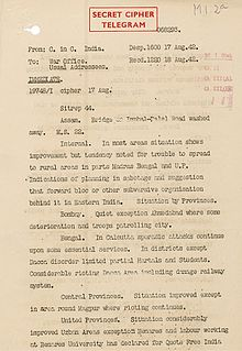 "A single-paged official document on paper that appears old. Text is written with an old-style manual typewriter. The words ""Secret Cipher Telegram"" are prominently stamped atop the page."