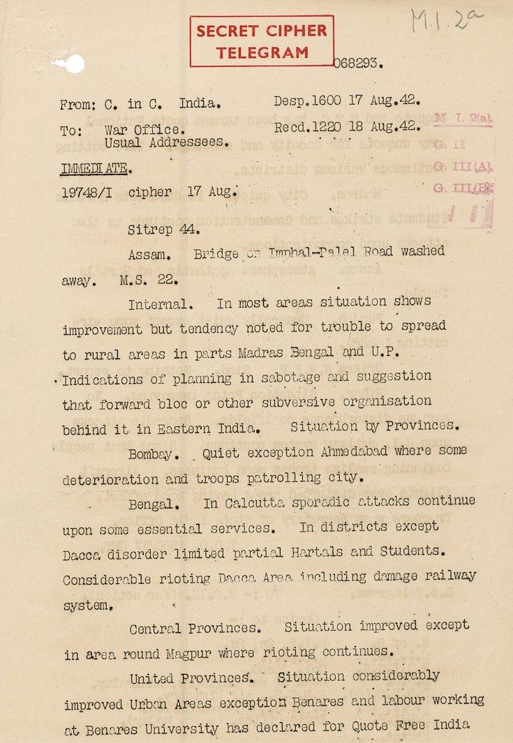 Civil unrest India August 1942 Telegram