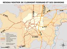 Carte du réseau routier de l'agglomération de Clermont-Ferrand