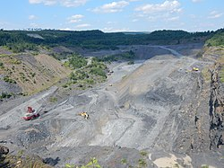 Coal mining near village of Wadesville in New Castle Township.