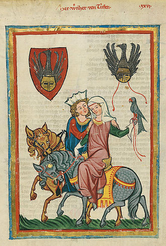 1340s - An illustration of fashion among nobles hawking, from the Codex Manesse, completed c. 1340.