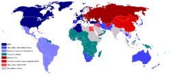 This map shows two essential global spheres during the Cold War in 1959. Consult the legend on the map for more details.
