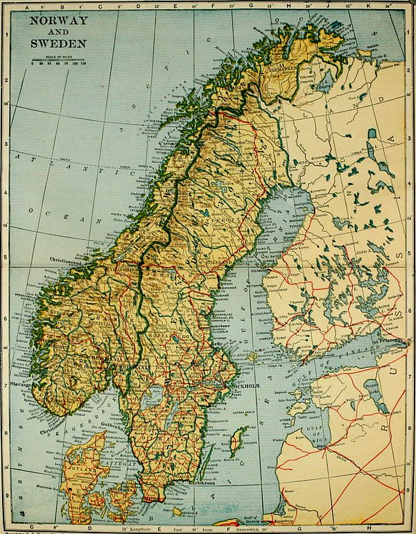 Collier's 1921 Norway - Map of Norway and Sweden.jpg
