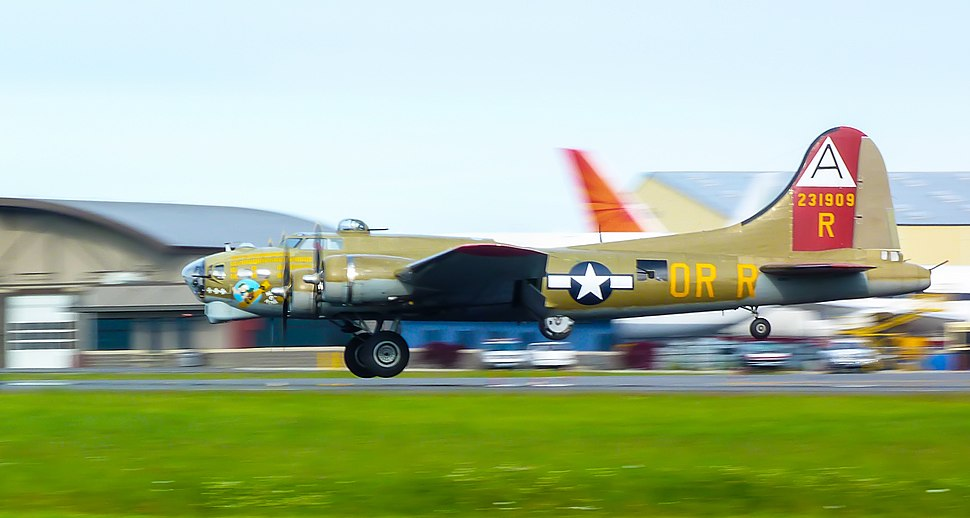 "Collings Foundation B-17G Flying Fortress ""Nine O Nine"" landing at Paine Field, Washington"