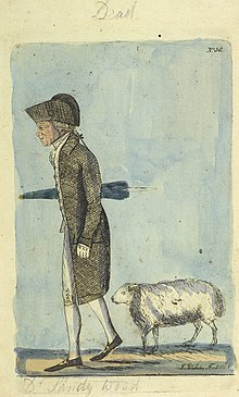 Colour etching of Dr Sandy Wood, carrying an umbrella and with his pet sheep.