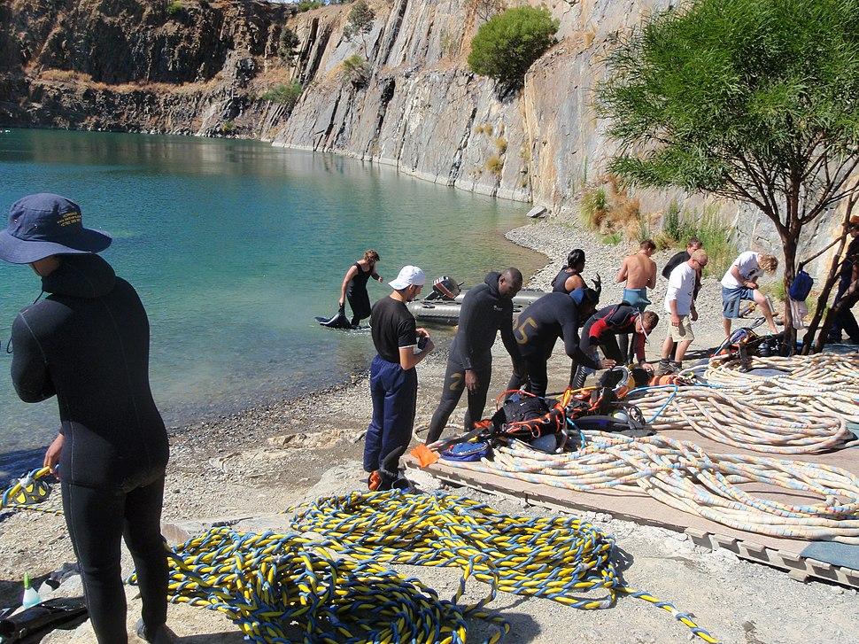 Commercial diver training at Blue Rock Quarry P3233799