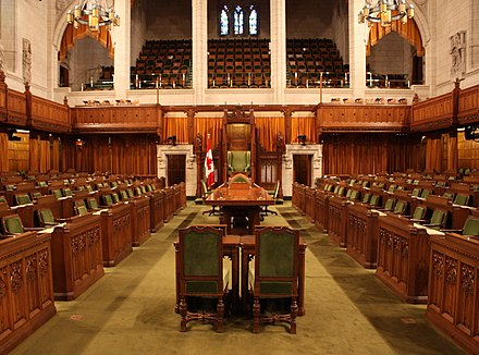 The chamber of the House of Commons; the speaker's chair is at the rear and centre in the room. Commons-chamber.jpg