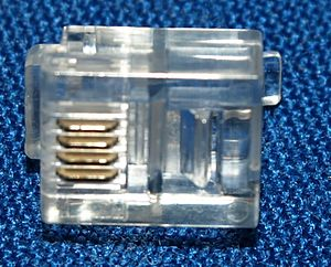Registered jack - 6P4C crimp-on style connector commonly used for RJ11 and RJ14