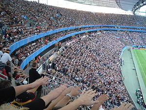 "Wave (audience) - Stadium crowd performing ""the wave"" at the Confederations Cup 2005 in Frankfurt"