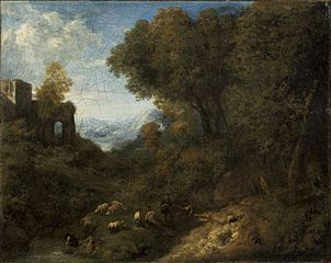 Landscape with a ruin - shepherds and herds at the creek
