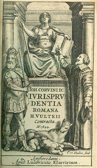 Johannes Arnoldi Corvinus - Title page from Justitia romana (1644).