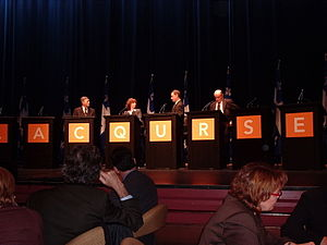 Parti Québécois leadership election, 2005 - A threeway debate between Jean Ouimet, Jean-Claude St-André and Ghyslain Lebel, presided by Lyne Marcoux.