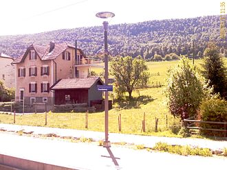 Courtelary - Courtelary train station and surrounding mountains