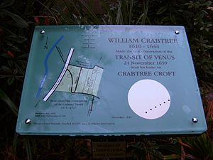 William Crabtree - Plaque commemorating Crabtree's observation of the Transit of Venus