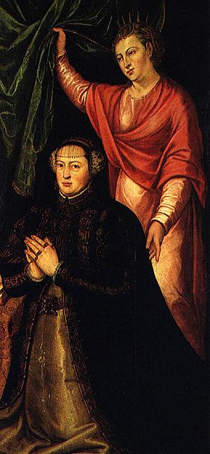 Cristóvão Lopes - Portrait of Queen Catherine (kneeling) by Cristóvão Lopes. National Museum of Ancient Art.
