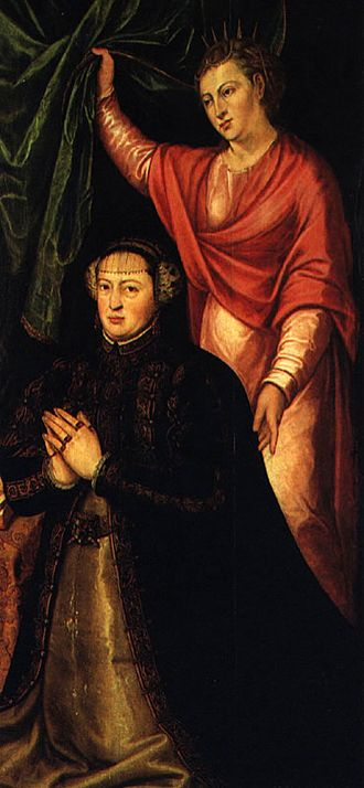 Cristóvão Lopes - Portrait of Queen Catherine (kneeling) by Cristóvão Lopes. National Museum of Ancient Art.