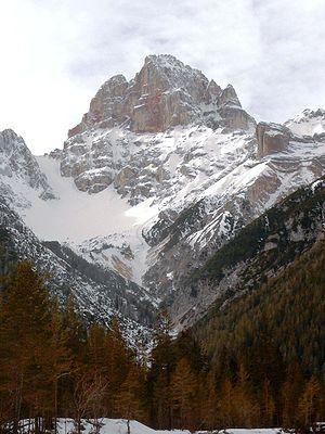 The Croda Rossa d'Ampezzo in Veneto, Italy