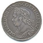 "Half-Crown coin of Oliver Cromwell, 1658. The Latin inscription reads: OLIVAR.D.G.RP.ANG.SCO.ET.HIB&cPRO (OLIVARIUS DEI GRATIA REIPUBLICAE ANGLIAE SCOTIAE ET HIBERNIAE ET CETERORUM PROTECTOR), meaning ""Oliver, by the Grace of God Protector of the Commonwealth of England, Scotland and Ireland and other (territories)""."