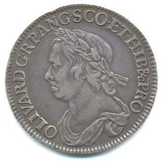 Half crown (British coin) - Half crown coin of Oliver Cromwell, 1658