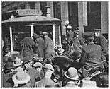 Strikers surrounding a streetcar in Indianapolis