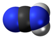 Space-filling model of the cyanamide molecule, nitrile tautomer