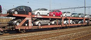 Flat wagon - Double-decker car transporter of Class Laaeks