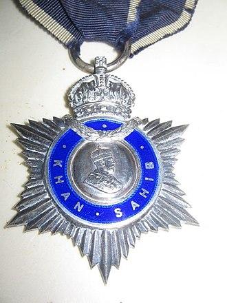 Khan Sahib - Image: DM Raja Khan Sahib Medal