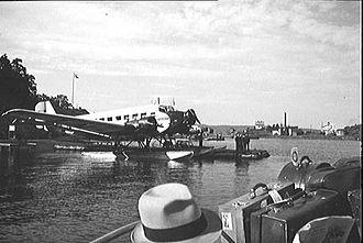 Norwegian Air Lines - A Junkers Ju-52 docked at Gressholmen Airport in 1936