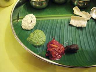 Chutney - Dakshin (south) style chutney (green one in the middle)