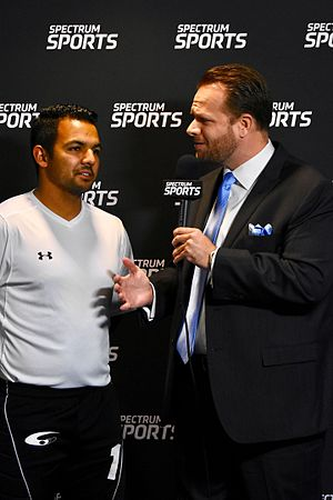 Dallas Sidekicks (2012–17) - Dallas Sidekicks TV Broadcaster Matt Thornton Interviews Goal Keeper Juan Gamboa on Spectrum Sports Texas.