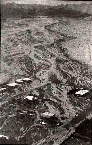 Hurricane Kathleen (1976) - Aerial photo of damage in Ocotillo, California