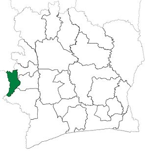 Danané Department - Danané Department upon its creation in 1969. It kept these boundaries until 2005, but other departments began to be divided in 1974.