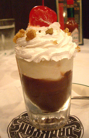 Sundae - A chocolate sundae served in a shot glass