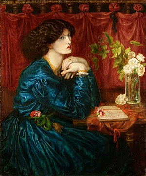 Artistic Dress movement - Jane Morris (The Blue Silk Dress) by Dante Gabriel Rossetti, 1868.