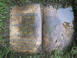 Darrell Figgis - Figgis' headstone – rediscovered May 2008. Date of death mistakenly given as 25 October. (Located at No. 35, Section J 8)