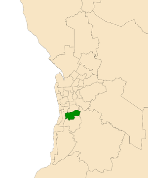 Electoral district of Davenport - Electoral district of Davenport (green) in the Greater Adelaide area