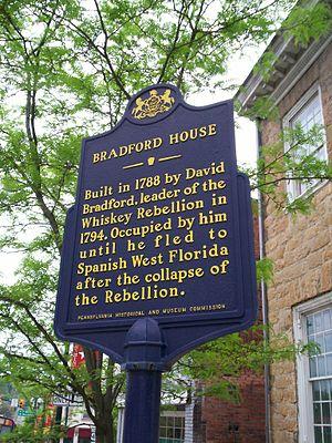 David Bradford House - The Pennsylvania state historical marker outside the David Bradford House.