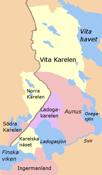Karelens uppdelning i olika områden