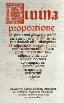 Title page of De divina proportione
