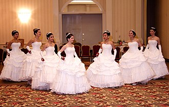 Ball gown - Image: Debutantes having a dress rehearsal, February 2009