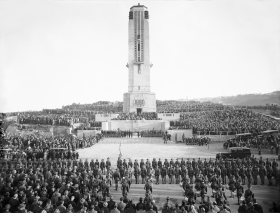 Dedication of National War Memorial Carillon, Wellington edit.png