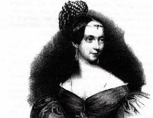 Delphine von Schauroth nach einem Gemälde von Wilhelm Hensel, um 1839 (Quelle: Wikimedia)